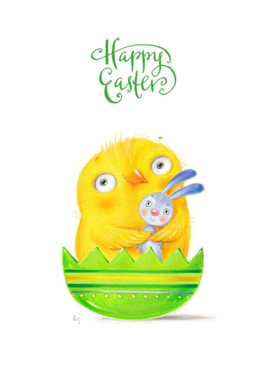 Happy Easter Bird With Bunny