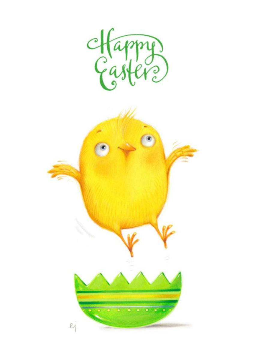 Happy Easter Jumping Bird