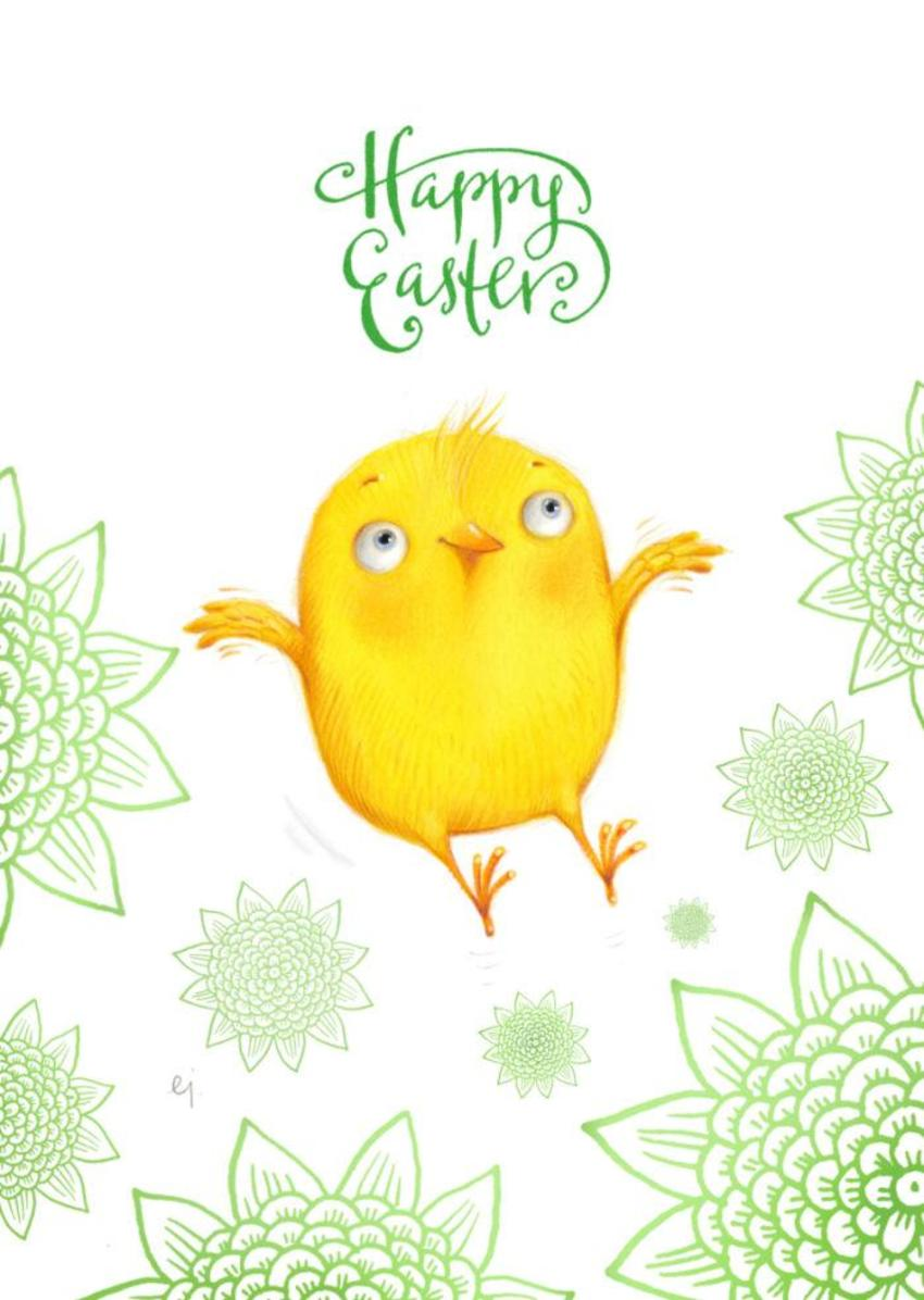 Happy Easter Jumping Bird 2