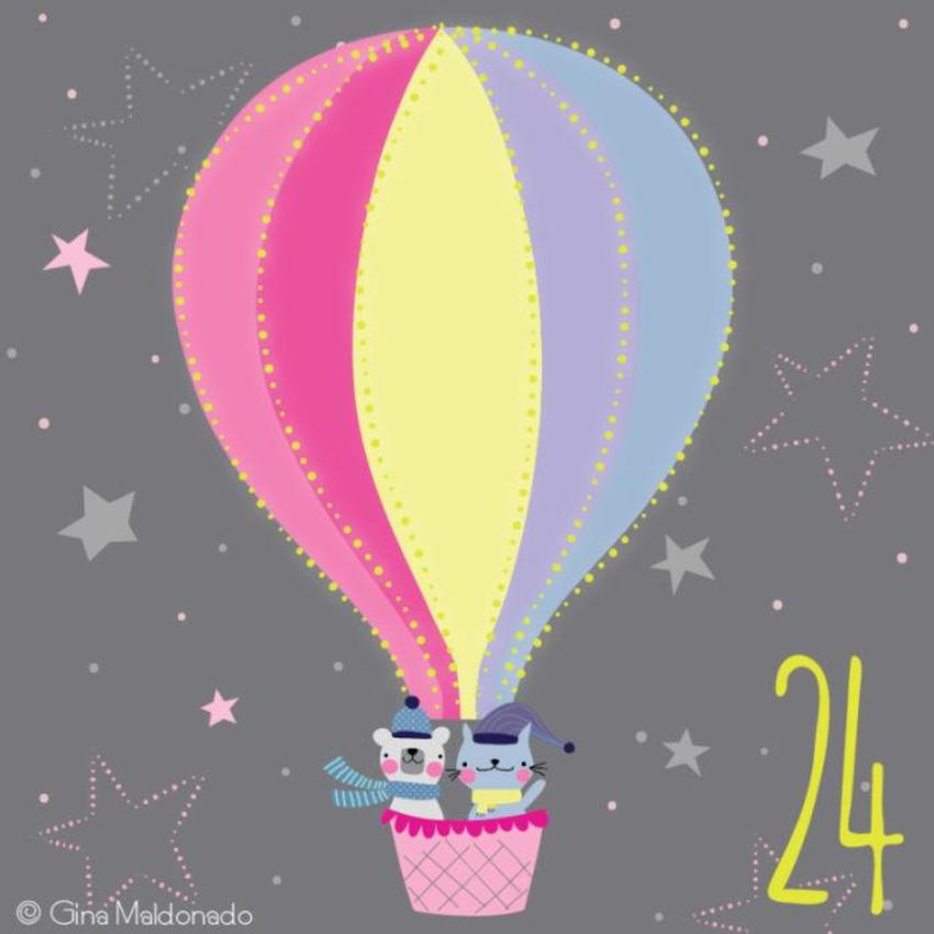 24 - Cat And Bear In Balloon - GM