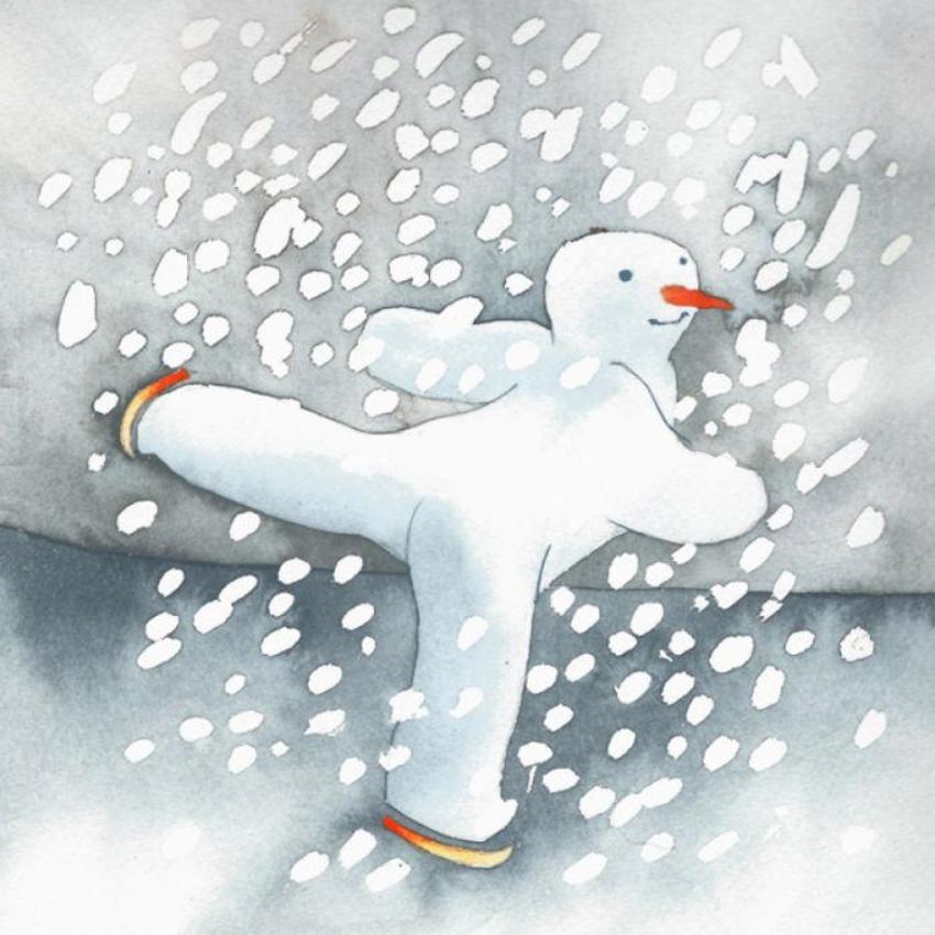 Skating Snowman Snow Christmas