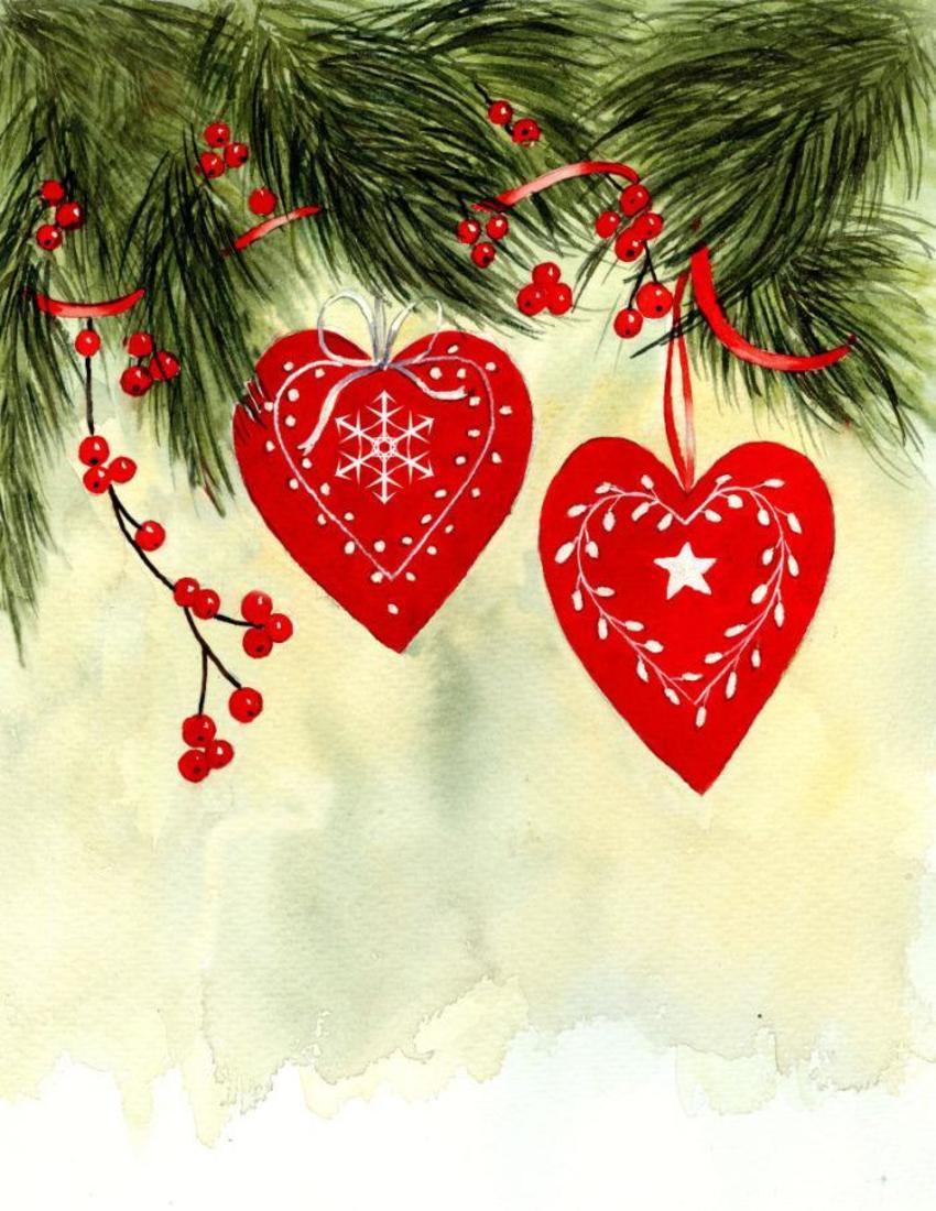 Christmas Hearts Colour