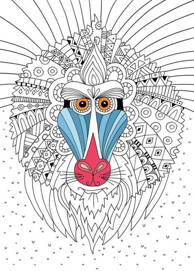 mandrill-colouring