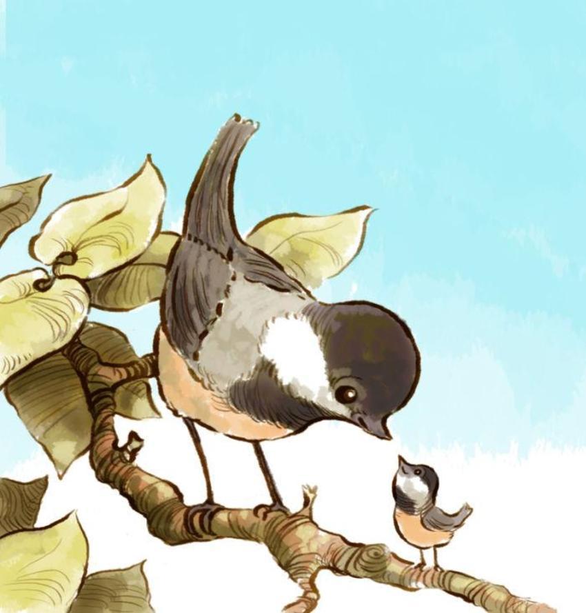 Jon Davis - Chickadee, Mother, Child, Branch-01 Copy