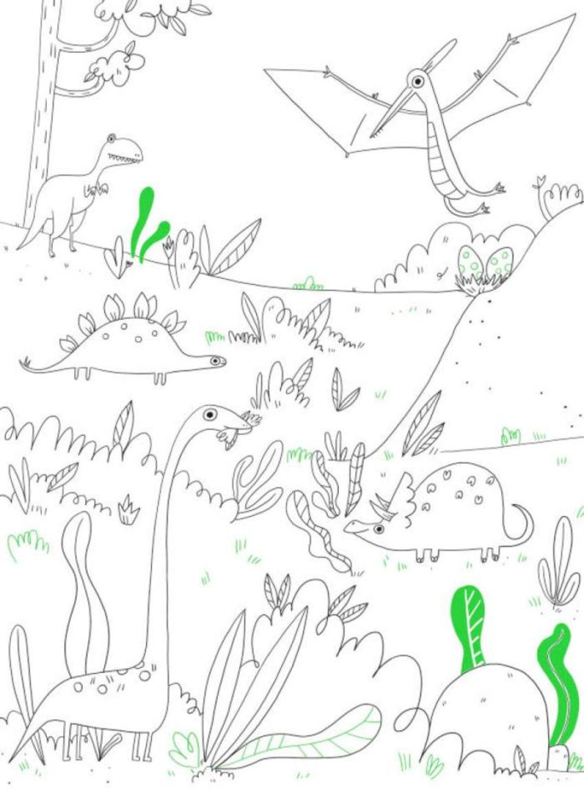 Colouring Book Line Boy Activity Dinosaurs