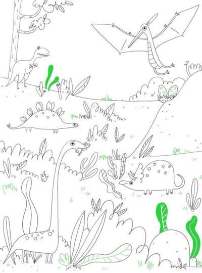 colouring-book-line-boy-activity-dinosaurs