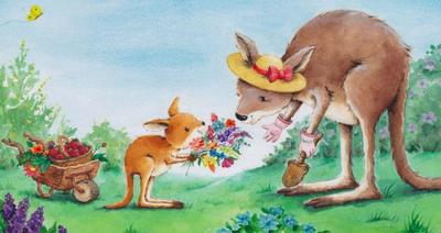 c-kangaroos-watercolour-flowers