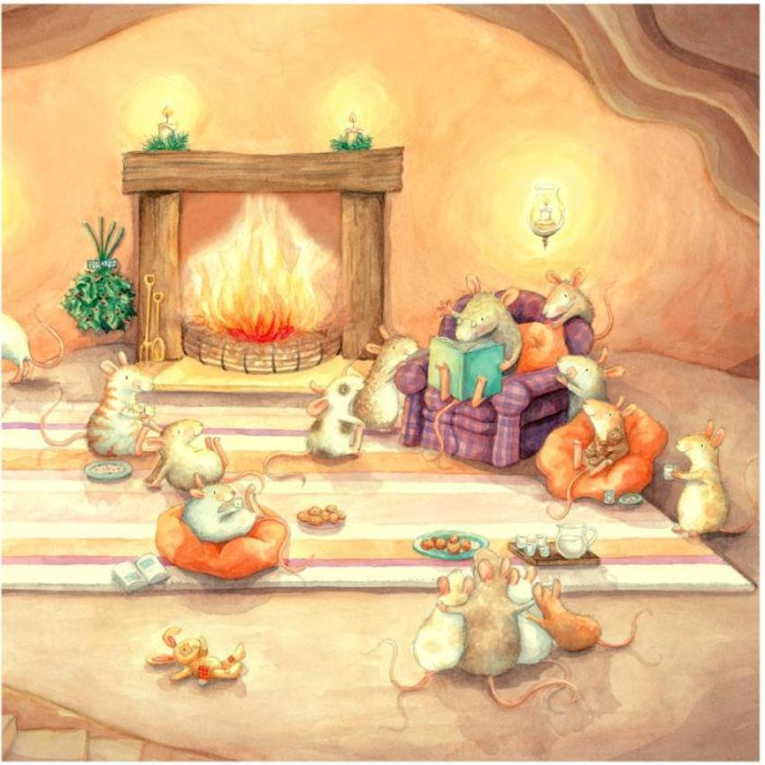 Grandpa Mouse Reading To His Little Mice By Firelight