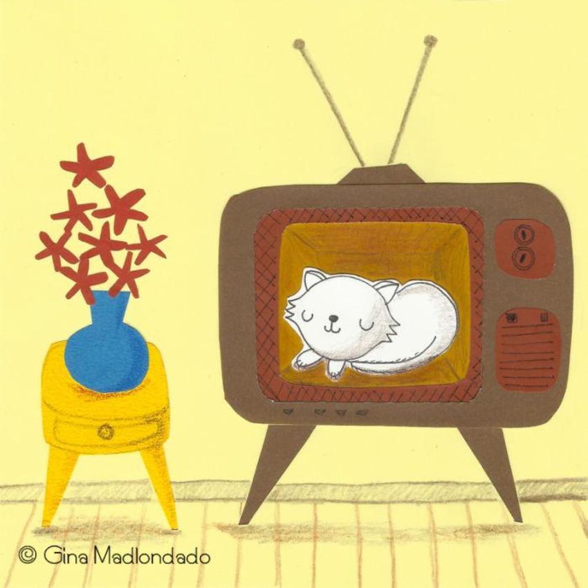 Cat Inside Old Tv - GM