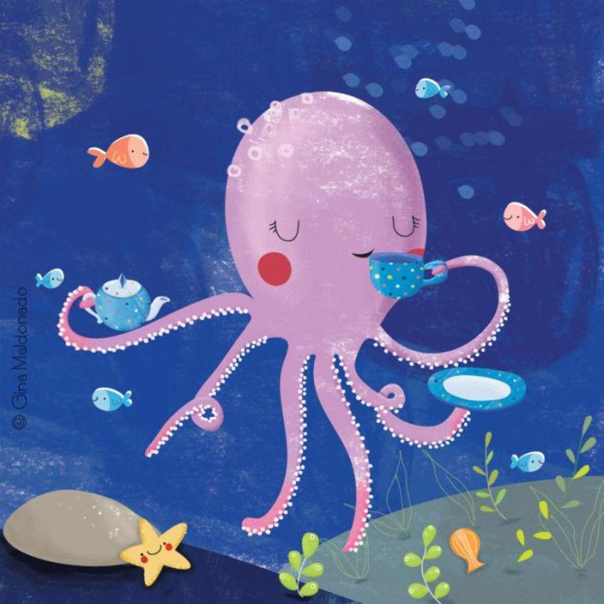 Octopus Drinking Tea -GM