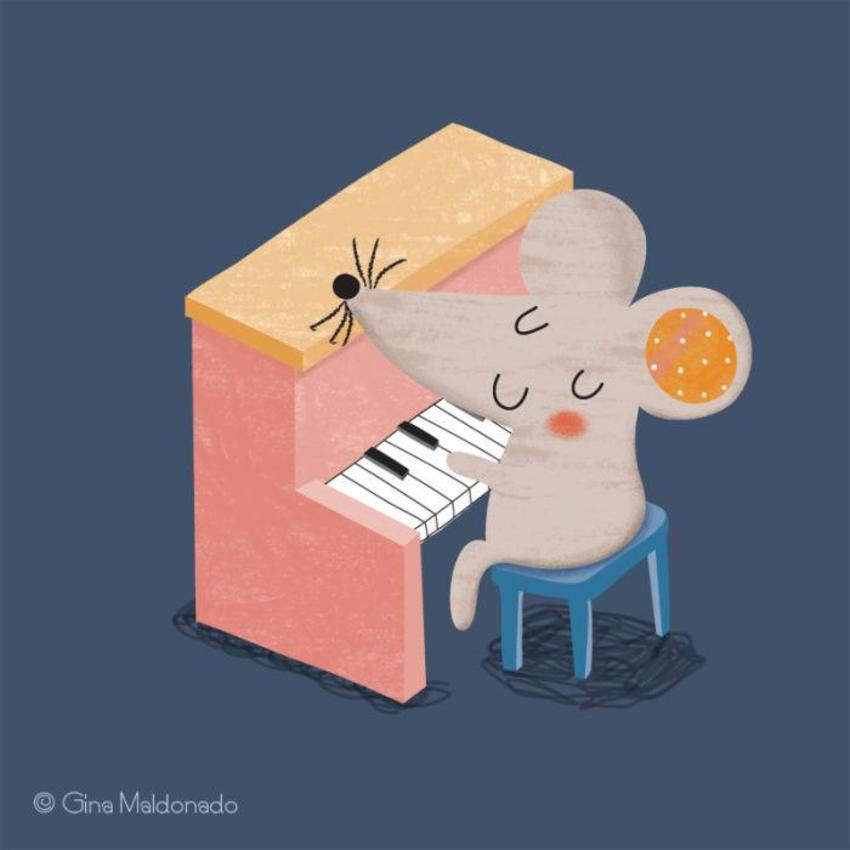 Mouse Playing Piano - GM