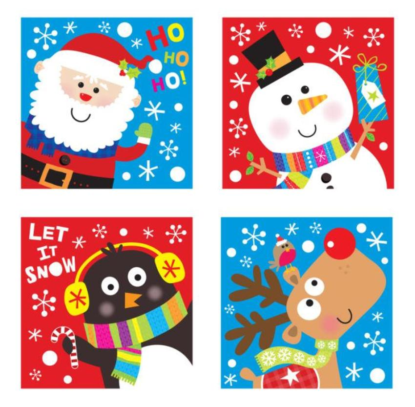 JENNIE BRADLEY-CHRISTMAS CHARACTER SQ CARDS