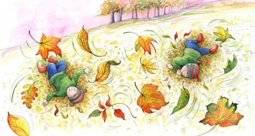 Corke Book Child Autumn Leaves