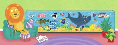 lion-relaxing-fish-tank