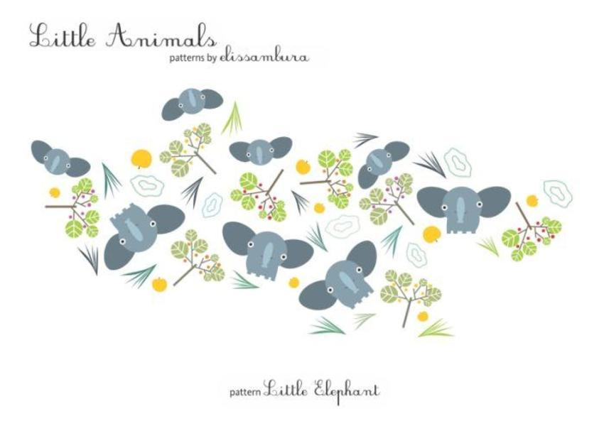 Little Animals Patterns Elephant 01