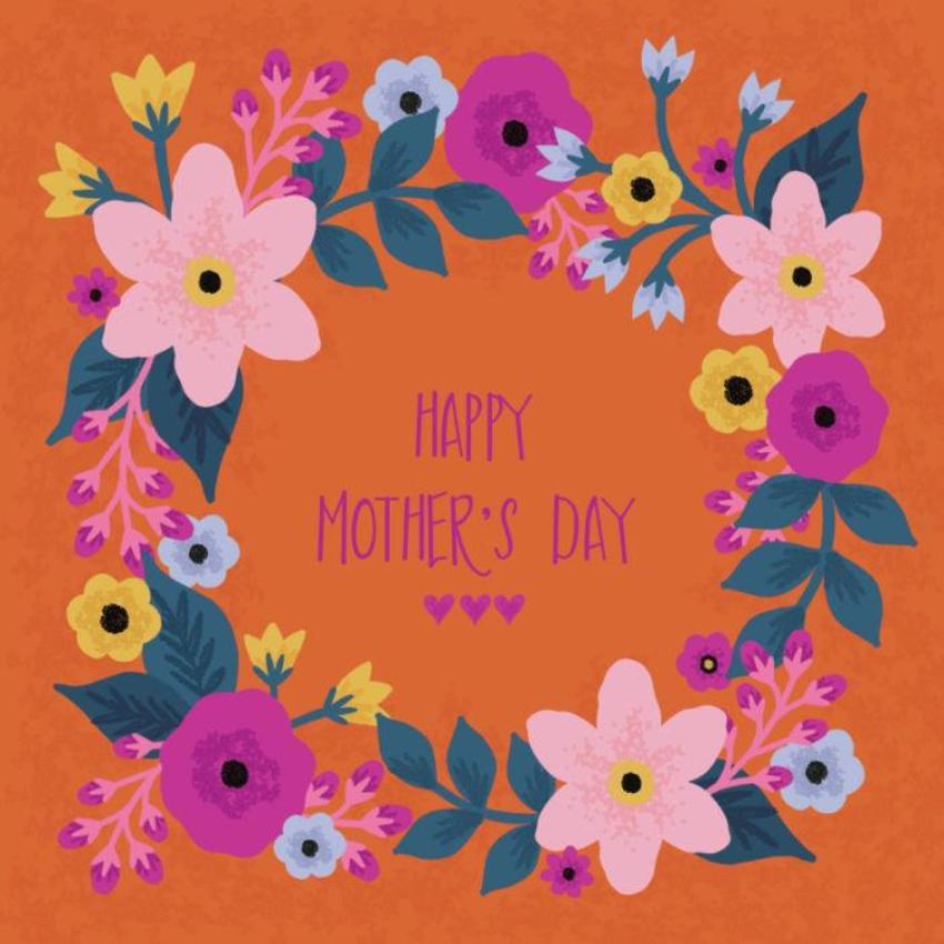 Orange Background Mothers Day Flowers