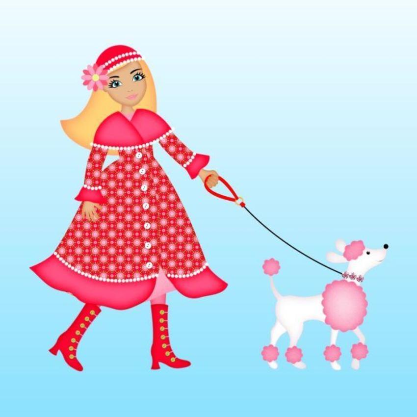 Girl walking dog.psd