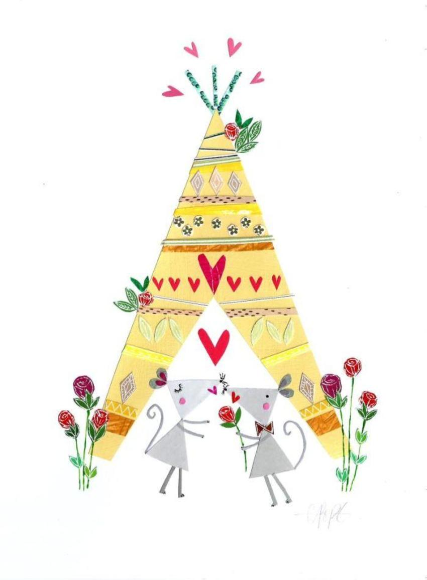 PT - NEW Teepee Mice Art