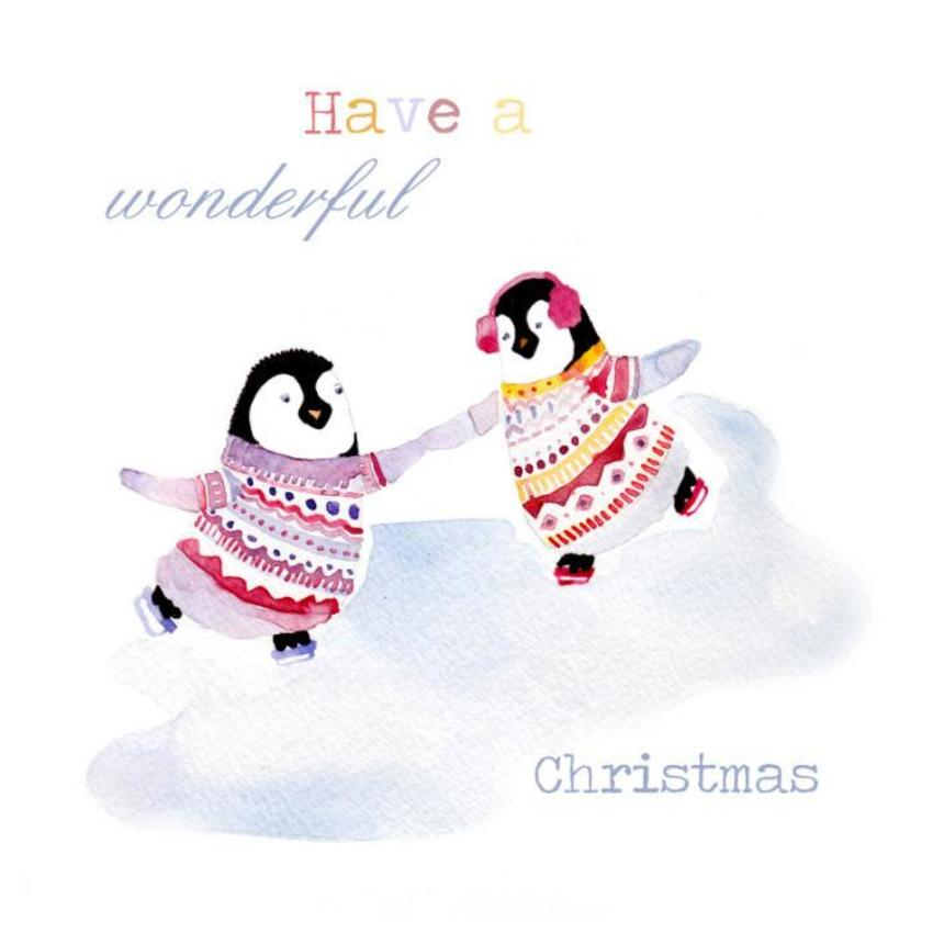 Felicity French penguins on ice xmas card 7x7.jpg