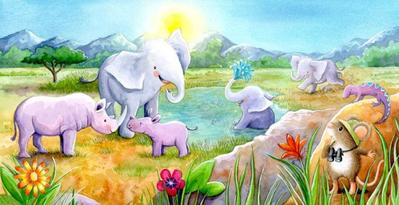 exactly-like-me-book-mouse-in-africa-elephants-rhino-watercolour-gailyerrill