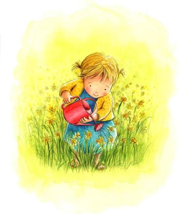 estelle-corke-girl-watering-easter-daffodils