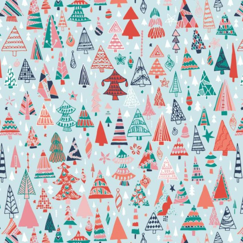 RP Christmas Trees Bright Kids Children Pattern Wrap