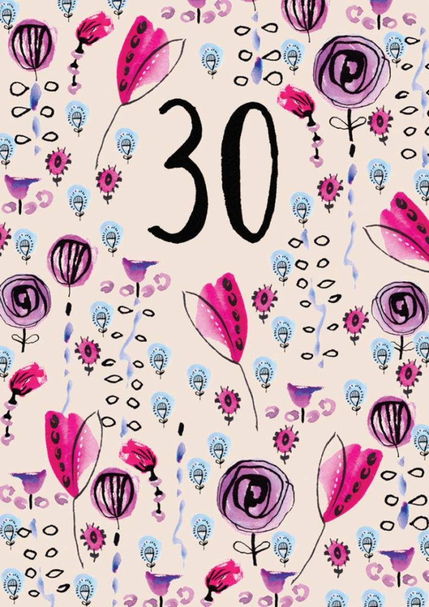 RP Inky Flowers Birthday Age 30