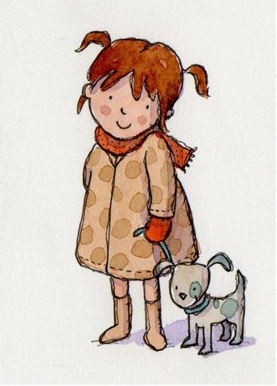 watercolour-cute-girl-and-puppy-claire-keay