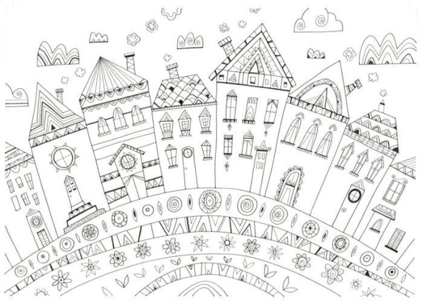 L&K Pope - Houses 5 - Black Ink