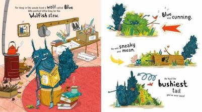 house-interior-cozy-books-home-funny-characters-wolf-animals