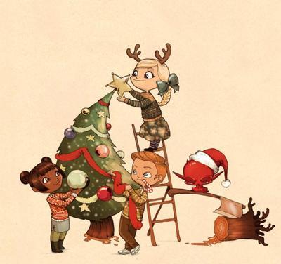 kids-decorates-christmas-tree