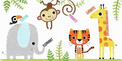 jungle-elephant-tiger-giraffe-monkey