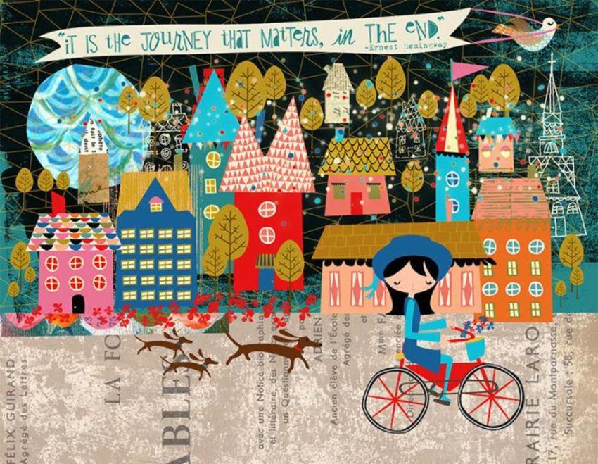 Girl On Bike In Village