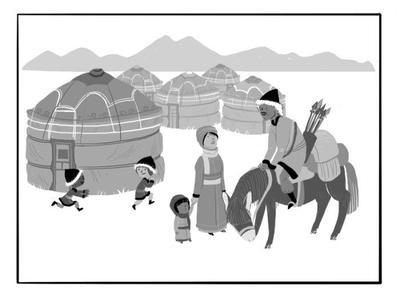 village-horse-kids