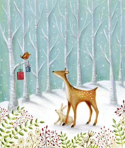 christmas-robin-reindeer-rabbit-snow-trees-jpg