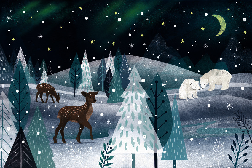 SOLD Claire McElfatrick Christmas woodland Winterscene Sample Book spread.jpg