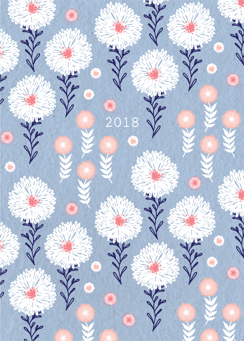diary cover notepad stationery thank you sympathy female birthday mothers day repeat pattern gift wrap gift tag white flowers periwinkle blue.jpg
