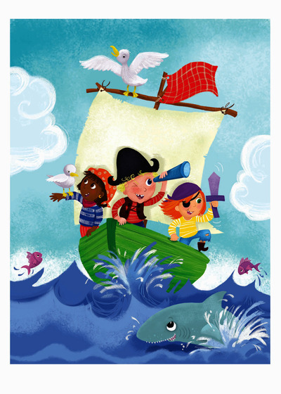 melanie-mitchell-girl-boy-pirates-shark-fish-boat-sea-jpg