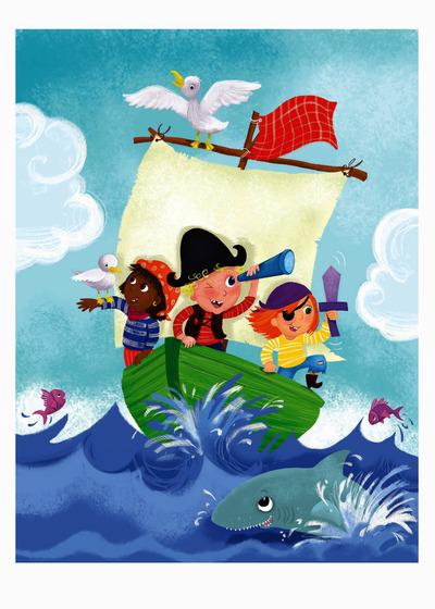 melanie-mitchell-girl-boy-pirates-shark-fish-boat-sea-jpg