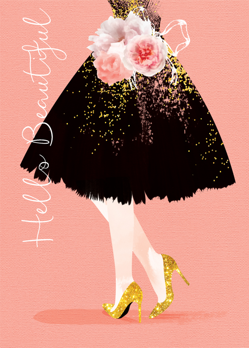 female birthday daughter sister niece friend girlfriend partner wife anniversary black dress and gold glitter shoes.jpg