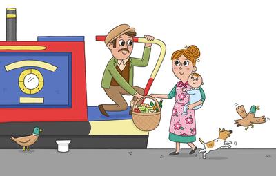 canal-boat-family-man-woman-baby-dog-ducks-jpg
