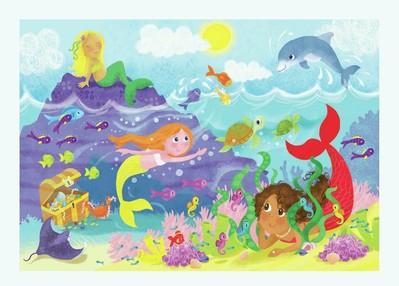 mermaid-fishes-coral-turtle-dolphin-underwater-melanie-mitchell-jpg