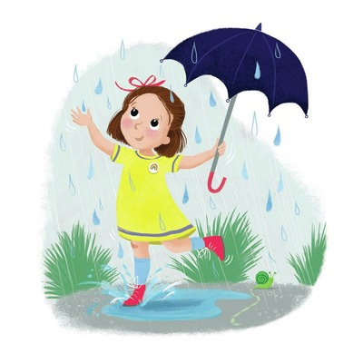 rain-girl-with-umberella-snail-puddle-melanie-mitchell-jpg