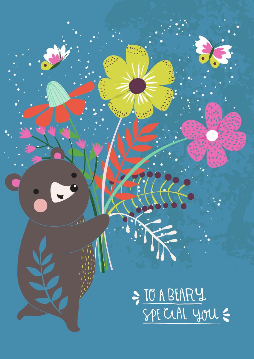 Bear and bunch of flowers - Gina Maldonado.jpg