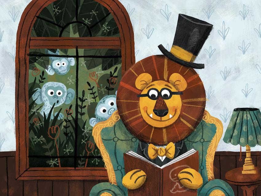 Fancy lion reading book with monkeys.jpg