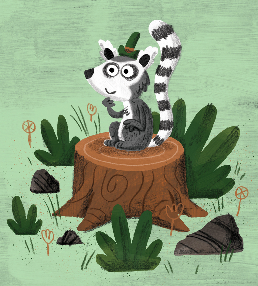 Lemur sitting on tree stump.jpg
