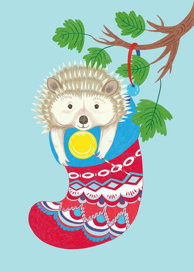 hedgehog-and-christmas-stocking-jpg