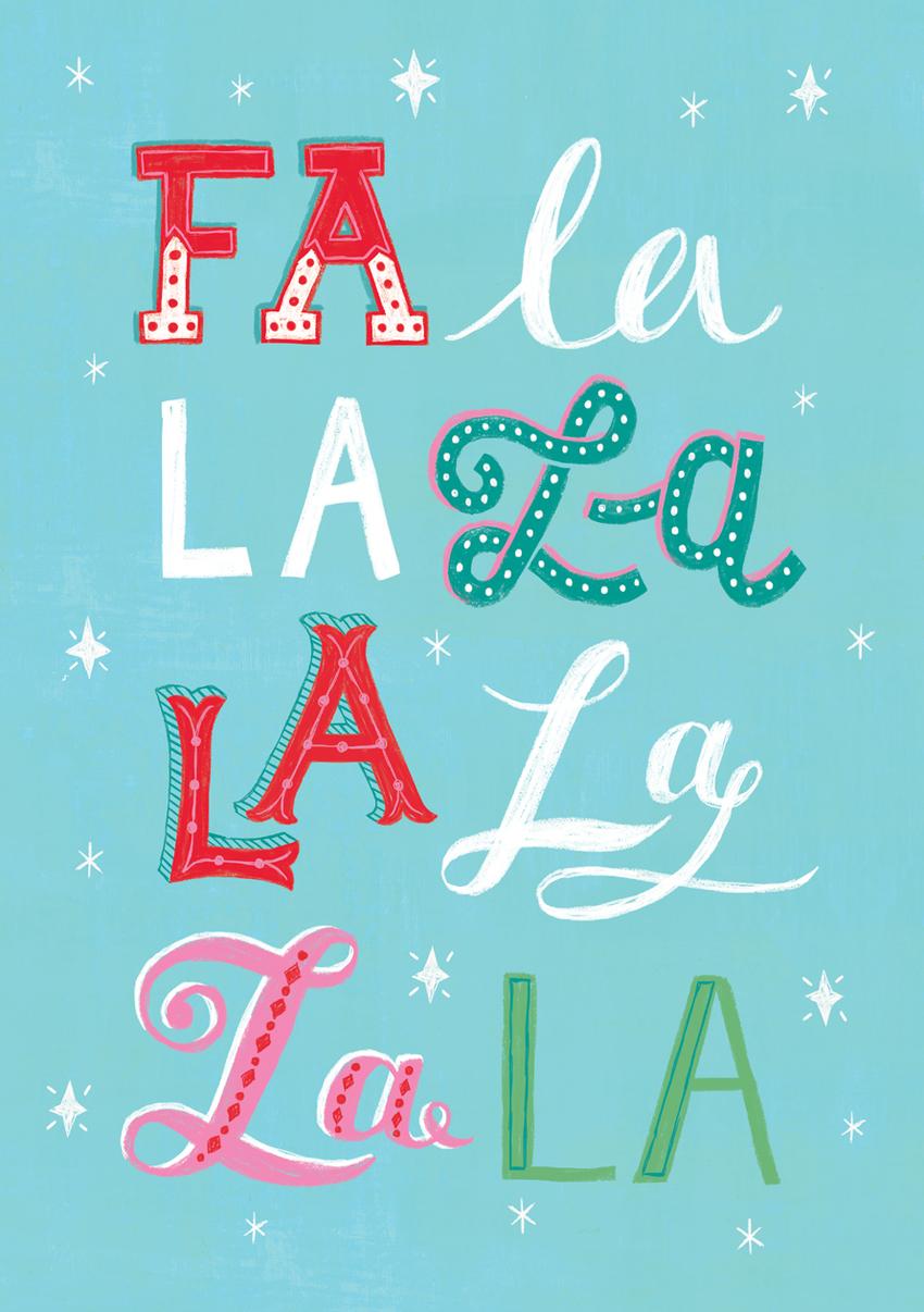 Louise Anglicas_christmas card typography fa la la.jpg