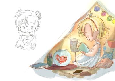 sketch-girl-children-blow-goldfish-jpg