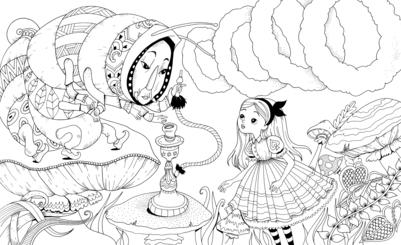 alice-wonderland-smoking-caterpillar-coloring-jpg